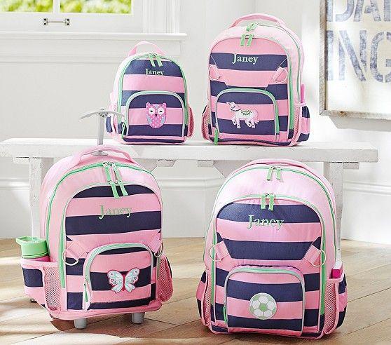 Fairfax Pink/Navy Stripe Backpacks | Pottery Barn Kids