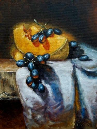 """Pumpkin and grapes"". Автор: Jozi Mesaros.   Холст/масло (2014).  #живопись #натюрморт #фрукты #виноград #холстмасло #картинамаслом #художник"