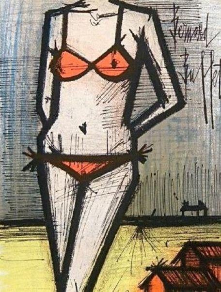 """Lithograph by Bernard Buffet, 1968, """"On The Beach"""", Paris, Mourlot Atelier."""