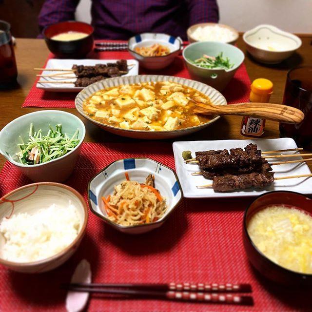 火曜日は ゆーりの好きなものづくしで作ってみた(*`∀´*) #牛串 #水菜とハムのサラダ #切り干し大根 #白菜と卵の中華スープ #麻婆豆腐  今週は 忘年会!(′□`*=*′□`) その前の日には 久々の週一会たのしみー❤️ #夕食#夕飯#ディナー#dinner#豆腐#水菜#牛肉#中華#ごはん#おいしい#宅デート#年下彼氏#仲良し#デート#メニュー#近距離#近距離恋愛 #バカップル #仲良し#肉#大好き#幸せ#Uri飯#ゆちゃうり#食事