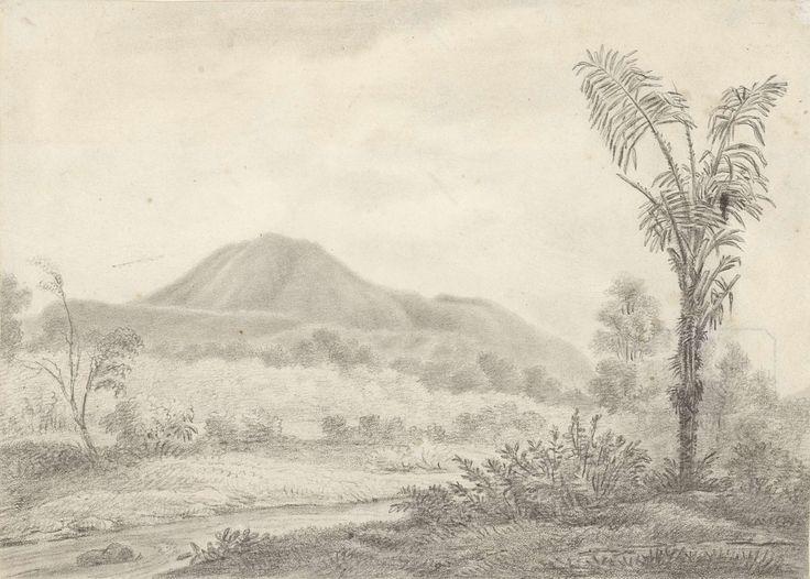Jannes Theodorus Bik | Javaans landschap met berg en palm, Jannes Theodorus Bik, Adrianus Johannes Bik, 1819 |