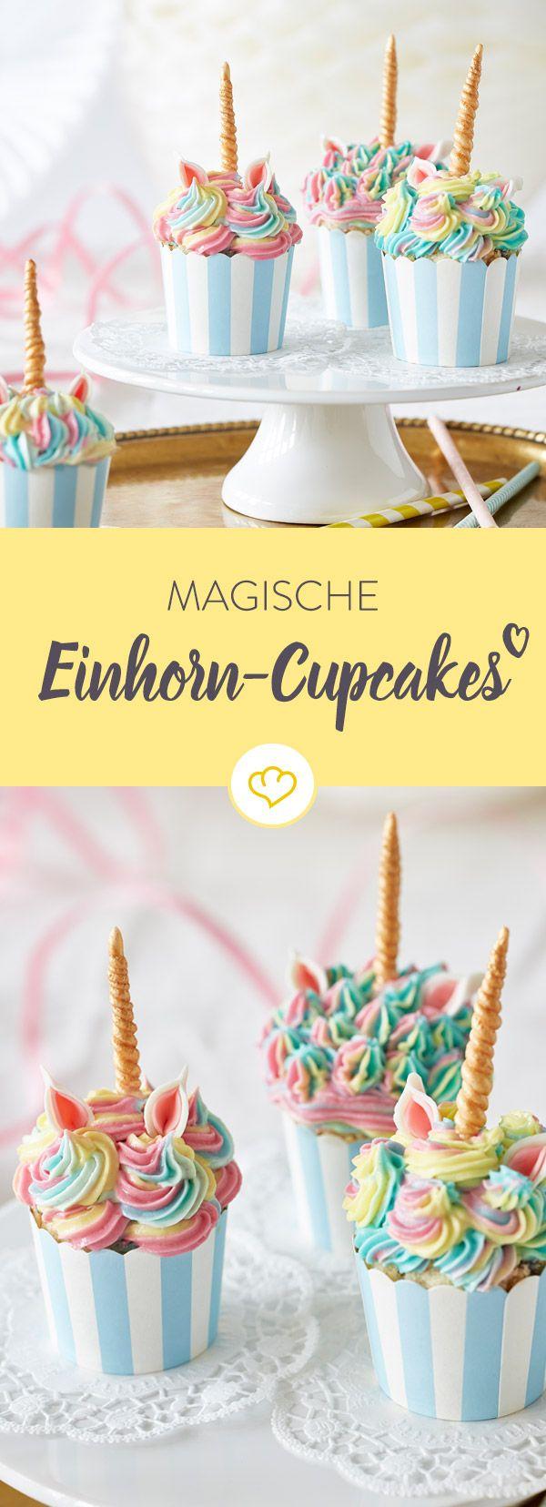 Aufgepasst: Diese kleinen Einhorn-Cupcakes laufen Gefahr, dem Geburtstagskind die Show zu stehlen! Fast zu schön, um reinzubeißen...