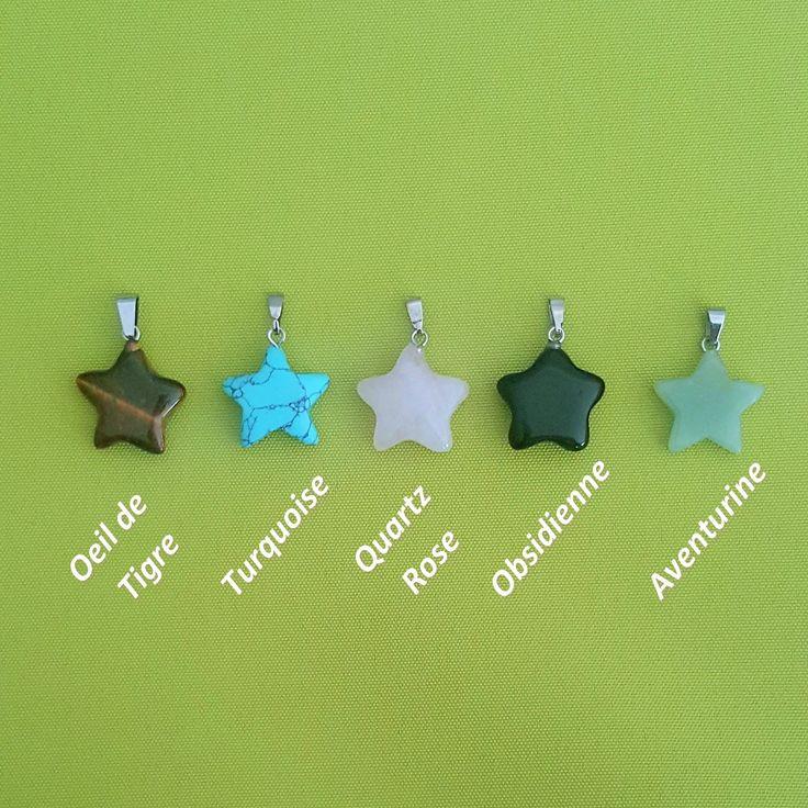 Pendentif pierre naturelle en forme d'étoile, bijoux pierre semi précieuse, Collier Coton Ciré Offert. Métal de qualité. Collier Femme