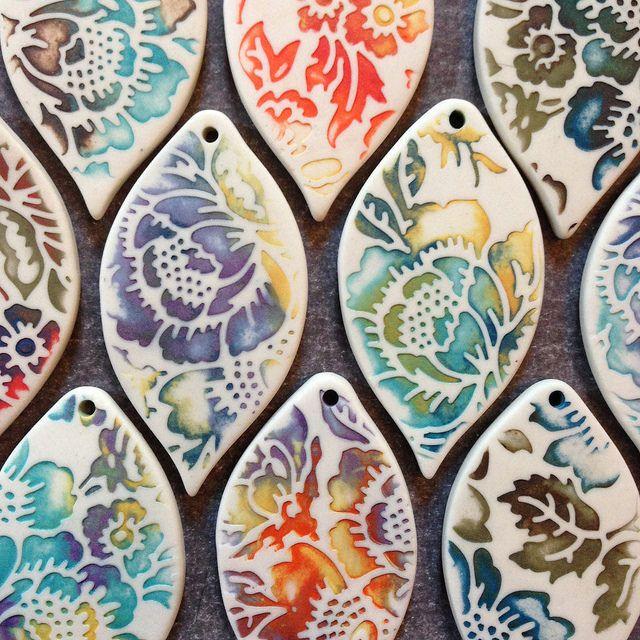 Porcelain pendants with watercolor glaze technique. | by RoundRabbit …