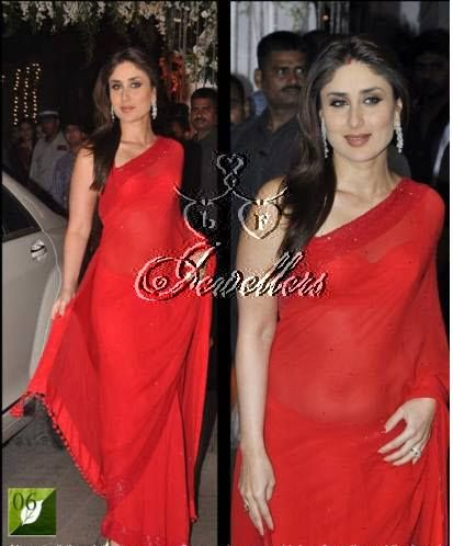 Kareena Kapoor, Gorgeous Georgette Saree In Light Red Stones & Stars.  Material Used: Georgette With Thread Shine Lace Border Work Colour: Red   Price: $68 (AUD) https://www.facebook.com/pages/LF-Jewellers/423983984326803?id=423983984326803&sk=photos_stream#!/photo.php?fbid=690548301003702&set=pb.423983984326803.-2207520000.1396940682.&type=3&theater