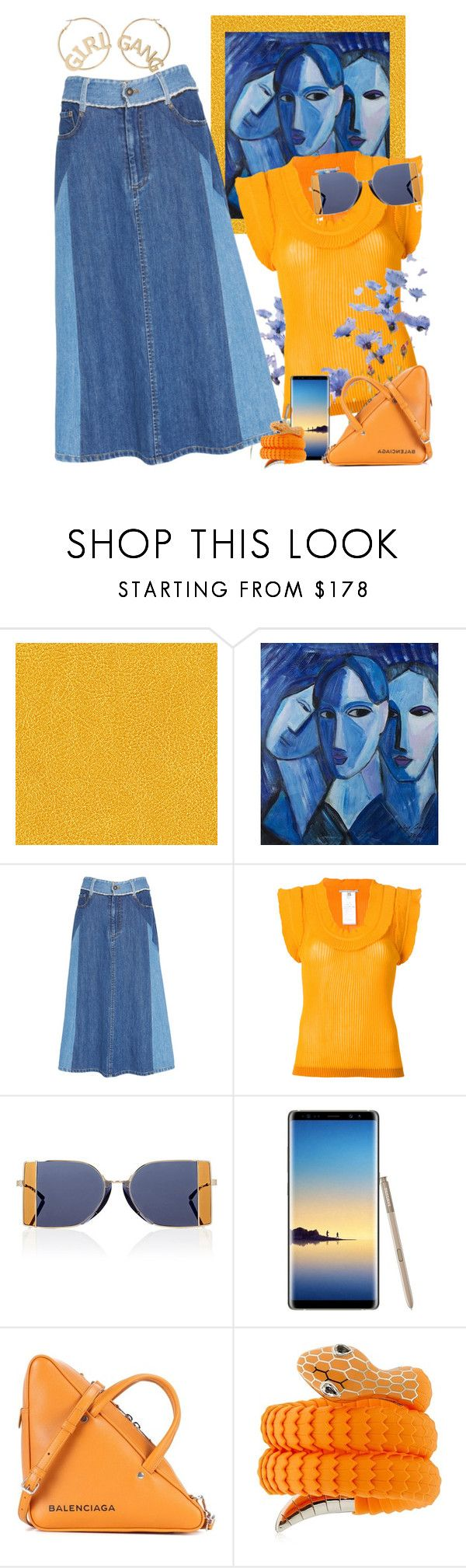 """Orange & Blue Contest"" by petalp ❤ liked on Polyvore featuring Élitis, NOVICA, Sea, New York, Marco de Vincenzo, Calvin Klein 205W39NYC, Samsung, Balenciaga, Tamara Donalli and BP."