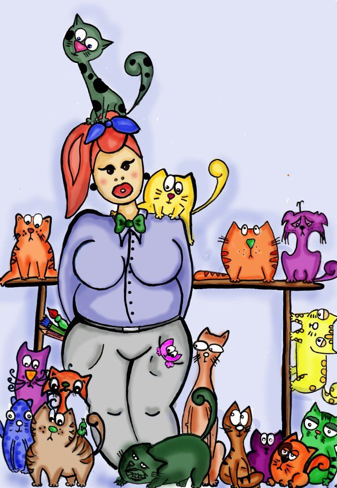 ilustration of me and cats....#cat #drawing #ilustration #portrait #simonscat