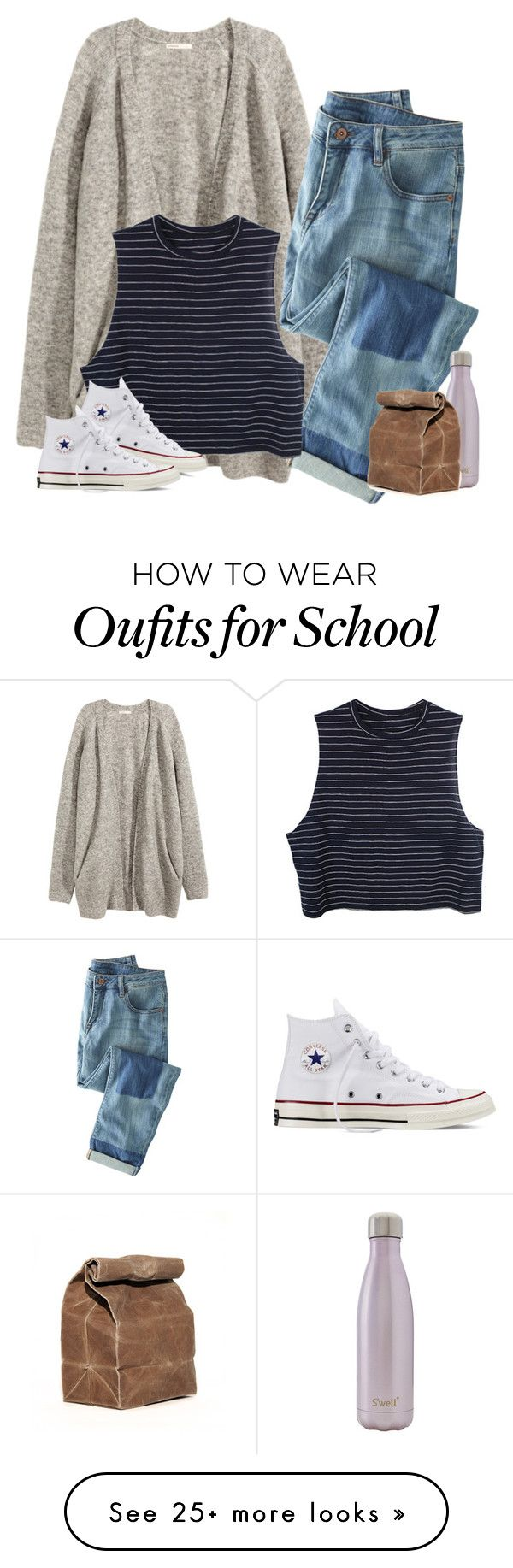 """""""School outfit"""" by rob-17 on Polyvore featuring H&M, Wrap, Converse, S'well, women's clothing, women, female, woman, misses and juniors"""