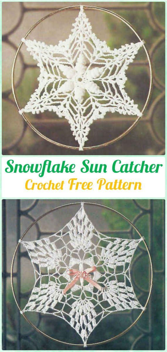 Crochet Snowflake DreamCatcher Free Patterns - #Crochet Dream Catcher Free Patterns