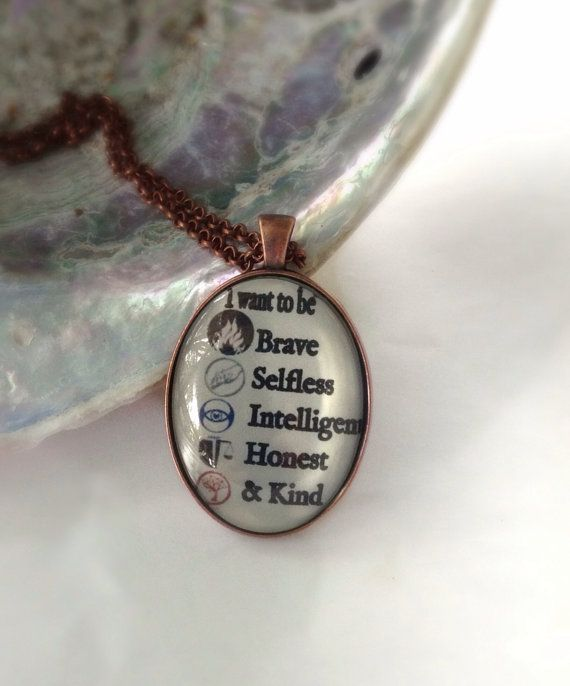 "Divergent ""I want to be brave selfless"" Factions Quote Glass Pendant Charm Necklace on Etsy, $14.00"