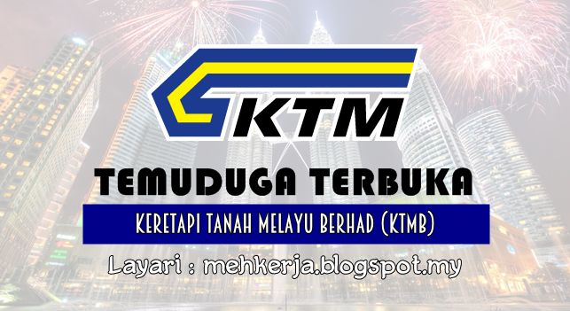 Temuduga Terbuka di Keretapi Tanah Melayu Berhad (KTMB) - 11 Aug 2016   Keretapi Tanah Melayu Berhad (KTMB) or Malayan Railways Limited is the main rail operator in Peninsular Malaysia. The railway system dates back to the British colonial era when it was first built to transport tin. Previously known as the Federated Malay States Railways (FMSR) and the Malayan Railway Administration (MRA) Keretapi Tanah Melayu acquired its current name in 1962.  Temuduga Terbuka Terkini 2016diKeretapi…