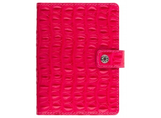 The Marilyn Passport cover in bright fuschia croc print on Italian calf leather