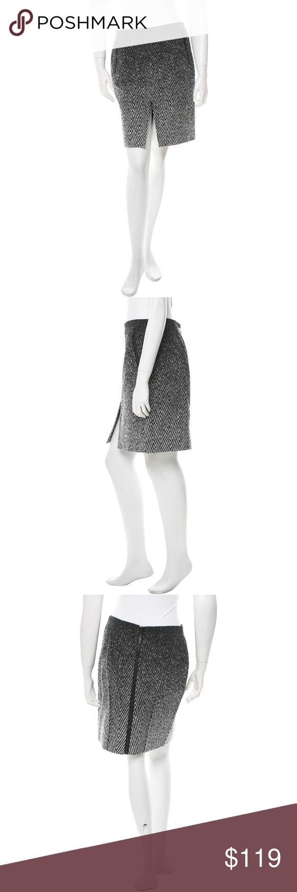 "rag & bone • chevron ombre wool zip mini skirt • 4 Chic details add edge to this mini skirt from Rag & Bone.  FEATURES • textured ombre degrade herringbone pattern • exposed zip pockets at hips • front center slit • exposed full length down center back • mini length   COLOR • black/white/gray   SIZE + FIT • size 4 • 30"" waist, 38"" hips, 19.5"" length   MATERIAL • 33% polyester, 33% cotton, 22% polychloride, 7% polyacetate, 5% wool • lining 100% polyester  CONDITION • gently used, in very good…"
