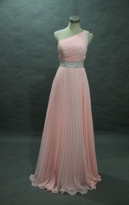 A-lineOne shoulder Beading Sleeveless Floor-length Chiffon Prom Dresses / Evening Dresses$158.00