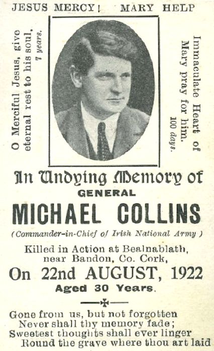 Michael Collins Memorial Card  (courtesy of Glasnevin Cemetery Museum)