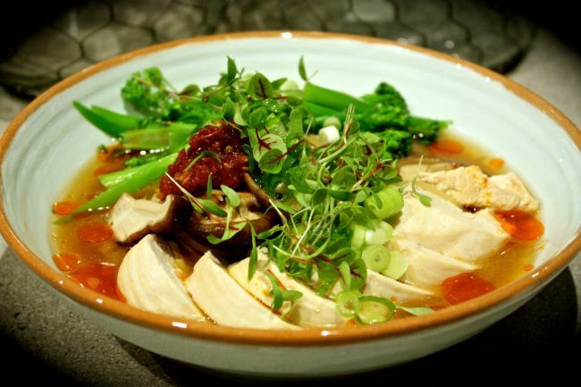 Miso & Ginger Soba Noodle Soup with Poached Chicken, Shiitake & Broccolini
