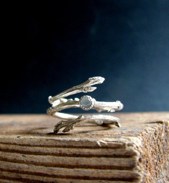 Silver Twig Ring Milky Aquamarine Cabochon Light Blue March Birthstone Gifts for her Botanical Jewelry An elegant and light double twig ring featuring a