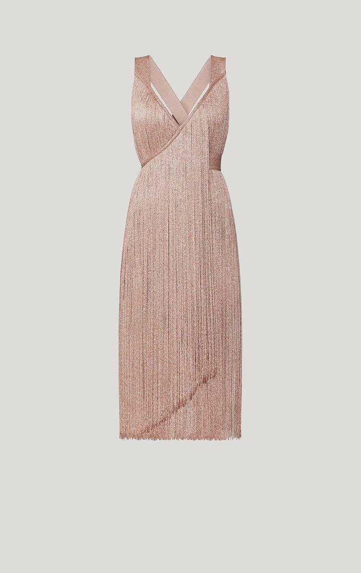 Metallic Fringe Midi Dress Rose Gold Lurex Combo Herveleger Com Lurex Dress Metallic Cocktail Dresses Midi Dress [ 1155 x 728 Pixel ]