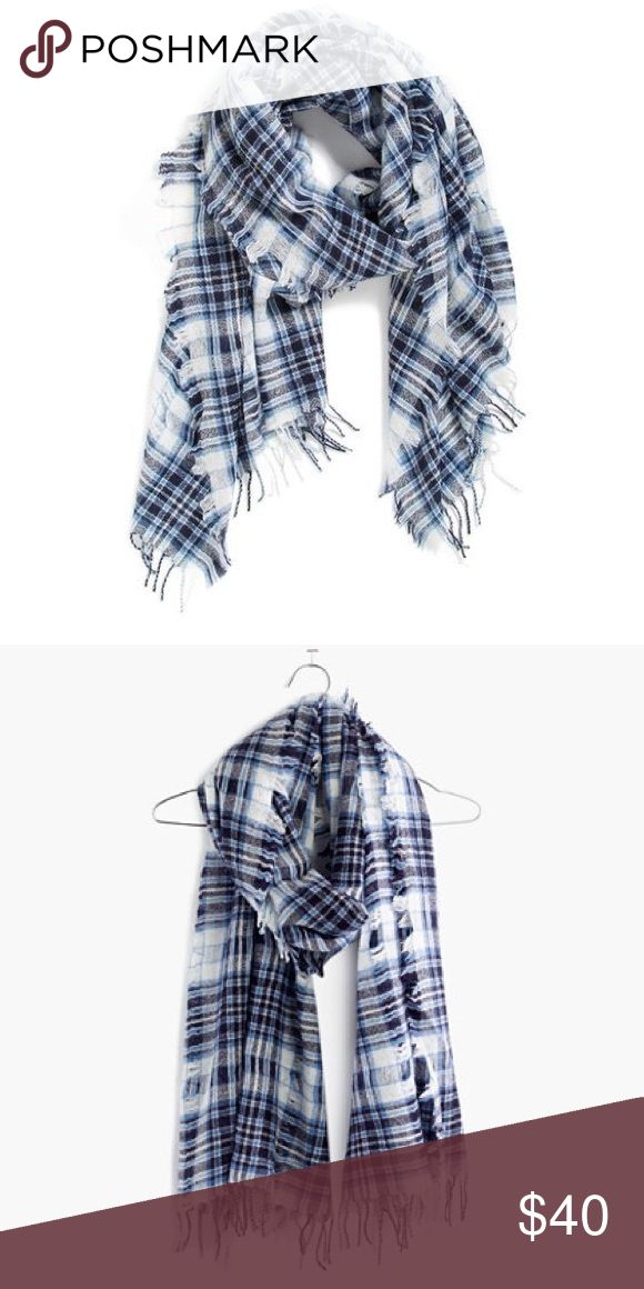 "Madewell openweave woolen scarf blue Fulton plaid Madewell openweave scarf in blue fulton plaid. Textual fringe, openweave design. 78""x23"". 100% wool. Super cozy and warm! Worn a few times, mint condition! Fair offers welcome. Madewell Accessories Scarves & Wraps"