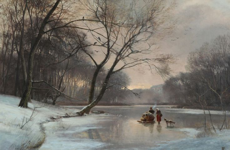 Winter scenery with persons on a frozen forest lake by Frederik Niels Martin Rohde (1816-1886)