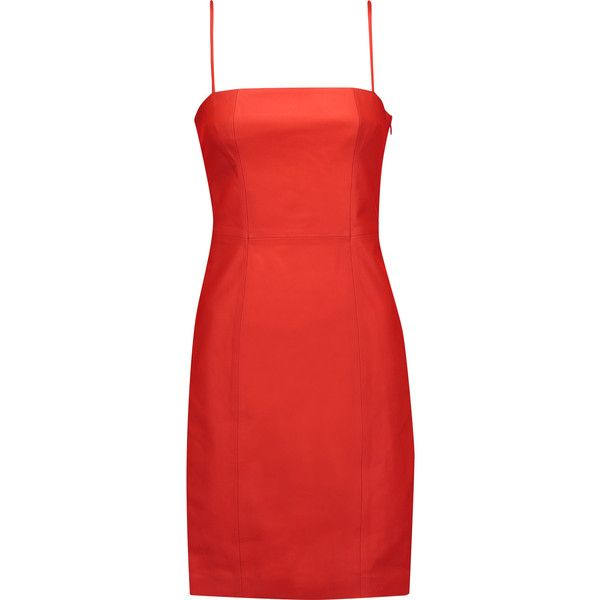 T by Alexander Wang - Leather Mini Dress (£360) ❤ liked on Polyvore featuring dresses, tomato red, short a line dresses, slouch dress, short leather dress, genuine leather dress and sporty dresses