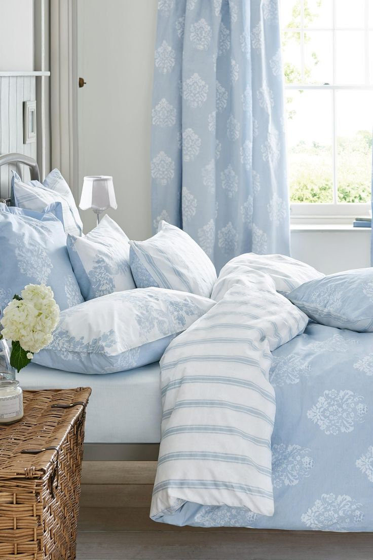Buy 2 Pack Cotton Rich Blue Damask Bed Set from the Next UK online shop