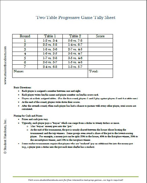 free printable twotable tally score sheets for euchre