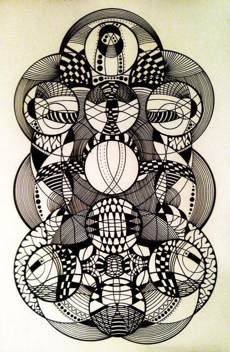 Merely an illusion, black pen drawing by Lilo Brown, via Behance