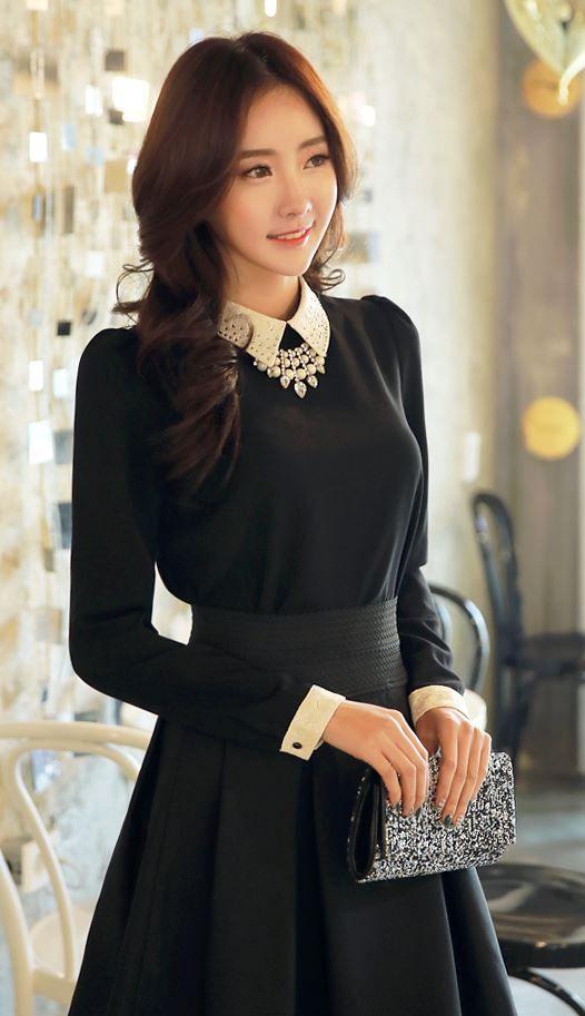 StyleOnme_Feminine Beaded Collar Blouse #blouse #beaded #feminine #formal #louisangel