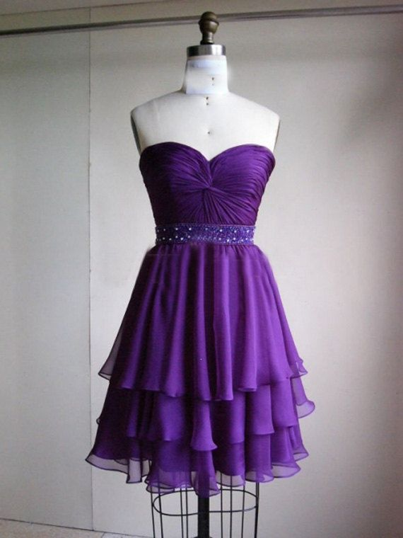 3 layer purple prom dress ,short prom dress praty dress 2014
