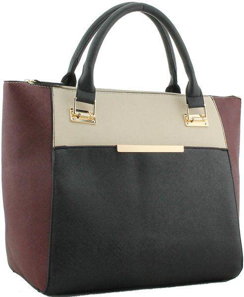 Fashion Colour Block Handbag with Detachable Shoulder Strap - Berry