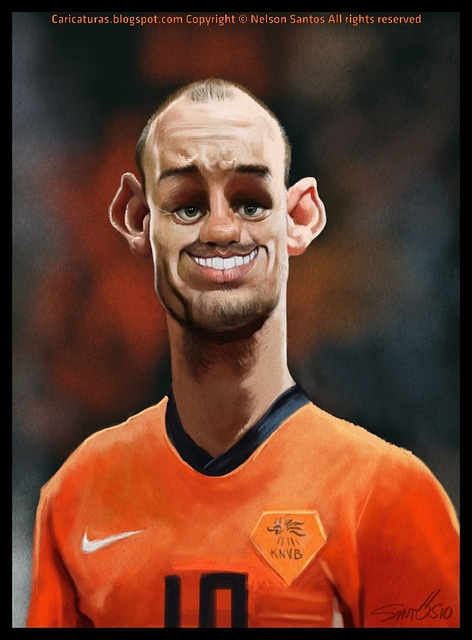 Wesley Sneijder caricature by caricaturas, via Flickr