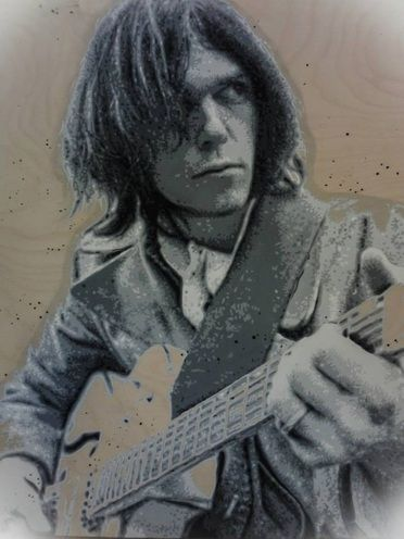 One of my favorites! Neil Young White Falcon pop art on a wooden panel by Chantella Viala