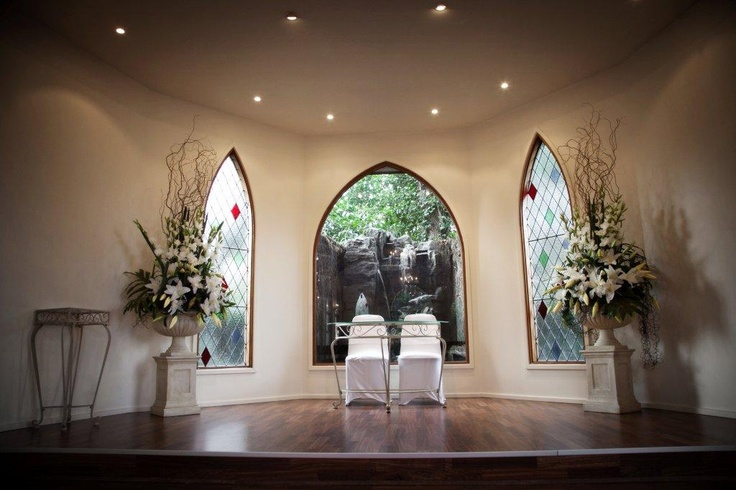 our sweet wedding chapel with waterfall as your backdrop