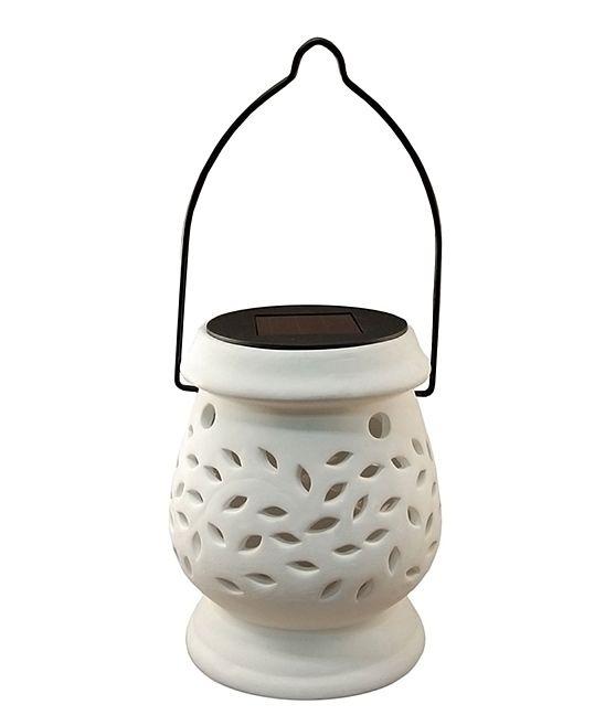 White Ceramic Solar-Powered Lantern