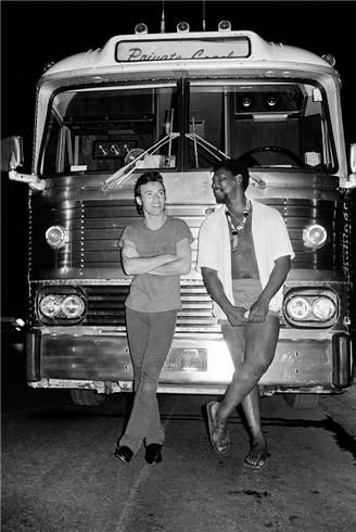 "Bruce Springsteen and Clarence Clemons, 1978  © LYNN GOLDSMITH    Taken during the ""Darkness on the Edge of Town"" tour."