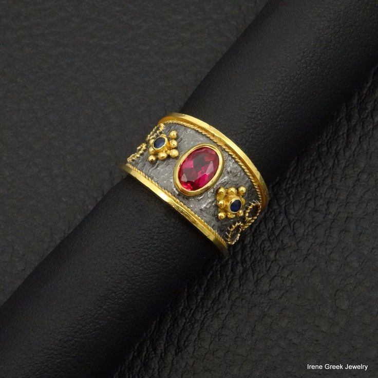RUBY SAPPHIRE BYZANTINE 925 STERLING SILVER 22K GOLD & BLACK RHODIUM GREEK RING #IreneGreekJewelry #Band