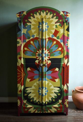 #upcycling a boring outdated wardrobe into a super funky and functional piece of art ... fab