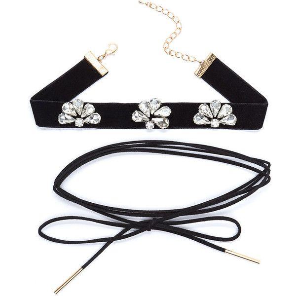 Way Two Cool Jeweled Choker Duo ❤ liked on Polyvore featuring jewelry, necklaces, choker jewellery, jewel choker, jewels jewelry, jeweled choker and jeweled choker necklace