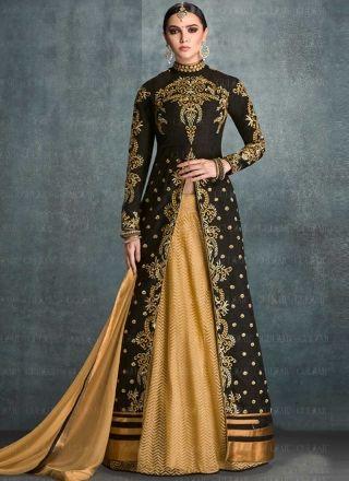 Beige Black Embroidery Work Banglori Silk Jacquard Net  Anarkali Designer Suit…