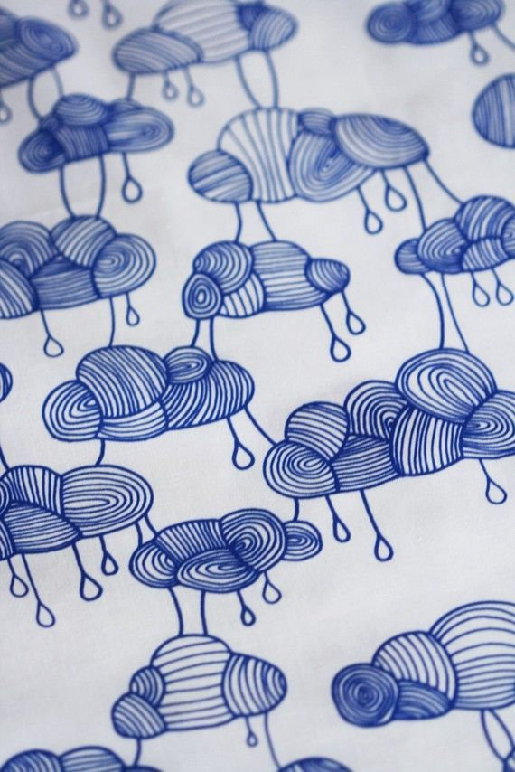 Weather Pattern Fabric Cobalt Blue on White by LilaRubyKingShop