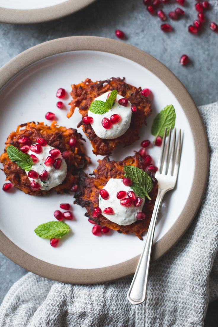 harissa sweet potato latkes with spiced yogurt, mint and pomegranate {gluten-free}