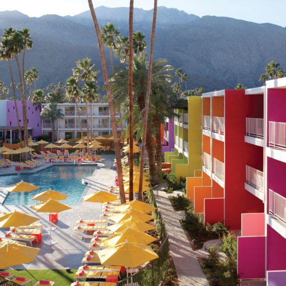 The Saguaro Palm Springs - a colorful, boutique hotel in Palm Springs, California. Located in Coachella Valley amongst beautiful mountains, enjoy an outdoor pool, day spa, and two delicious restaurants.