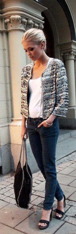 Jeans white top tweed jacket                                                                                                                                                                                 More