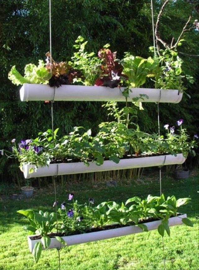 DIY Outdoor Vertical Garden DIY Hanging Gutter Garden - tutorial - great  for apartments, patios, small spaces