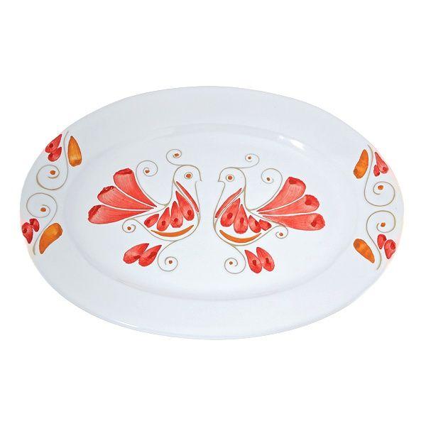 Vassoio ovale in ceramica. Decorato con le Pavoncelle tradizionali della Sardegna. Artigianato sardo, home decor. Kernos ceramiche.