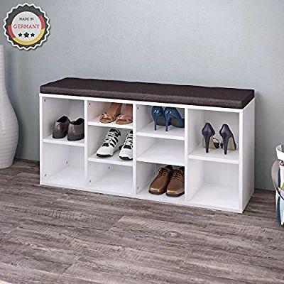 Schuhschrank Schuhregal Schuhbank Schrank Bank Regal 10 Paar Schuhe MDF in Weiß mit graubrauner Auflage
