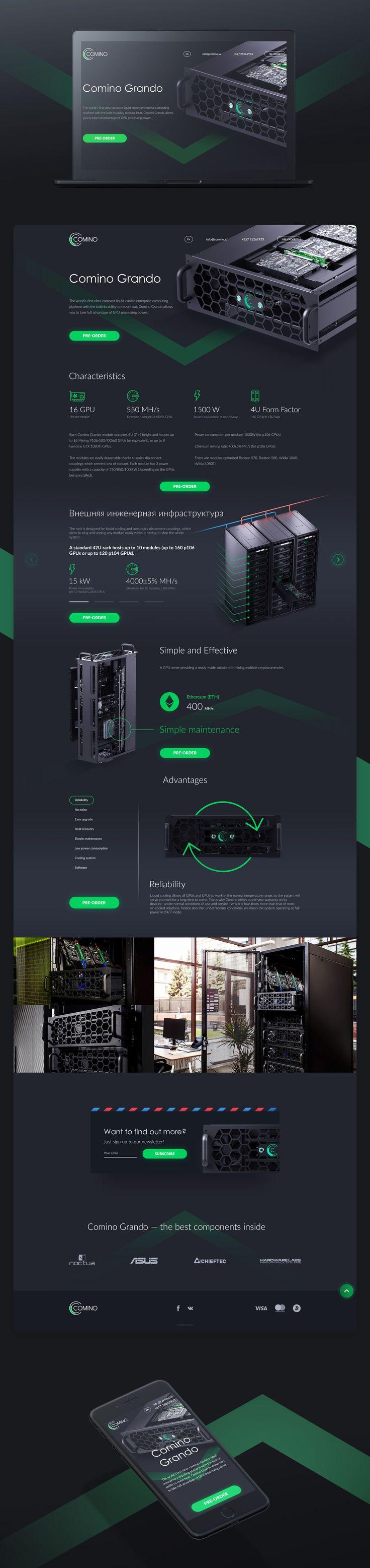 Website design «Crypto mining device Promo website»