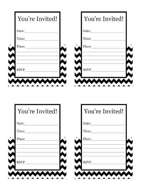 Free Printable black and white chevron Invitations $0.00