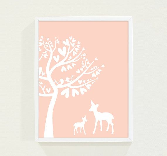 Woodland Custom Nursery Art Poster Print for Girls or Childrens Room in Peach Coral Pastel - Deer and Bird Kids Wall Art